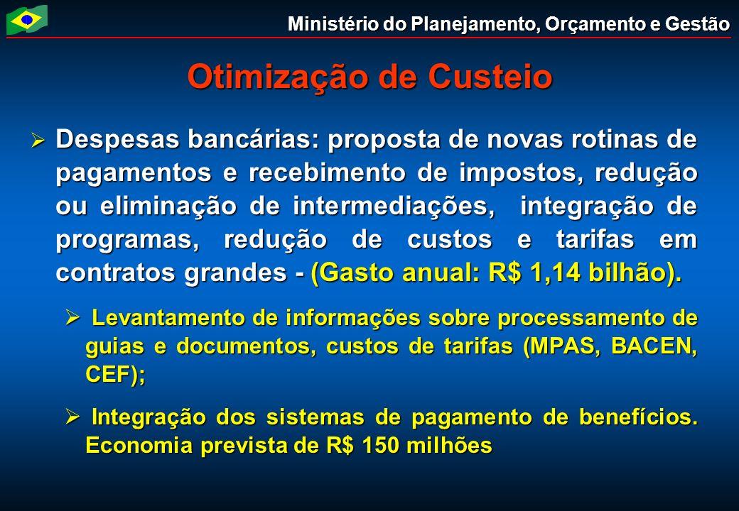 Ministério do Planejamento, Orçamento e Gestão Otimização de Custeio Despesas bancárias: proposta de novas rotinas de pagamentos e recebimento de impo