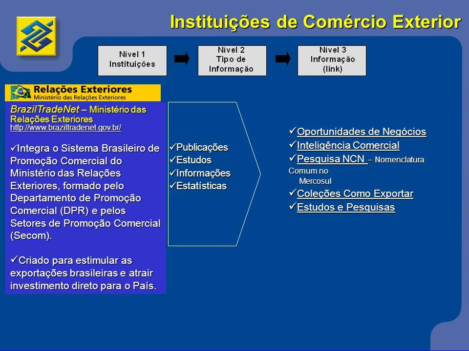 Instituições de Comércio Exterior BrazilTradeNet – Ministério das Relações Exteriores http://www.braziltradenet.gov.br/ Integra o Sistema Brasileiro d