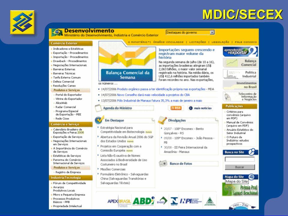 Instituições de Comércio Exterior SEBRAE – Serviço Brasileiro de Apoio às Micro e Pequenas Empresas http://www.sebrae.org.br Trabalha, desde 1972, pelo desenvolvimento sustentável das empresas de pequeno porte.