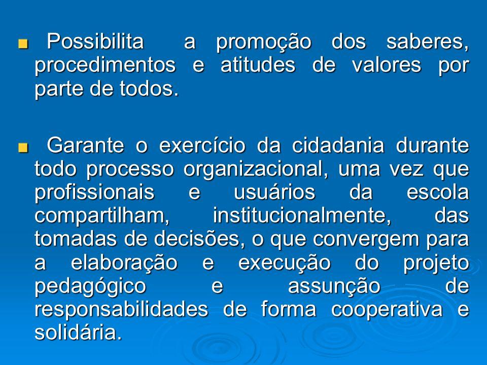 Possibilita a promoção dos saberes, procedimentos e atitudes de valores por parte de todos. Possibilita a promoção dos saberes, procedimentos e atitud