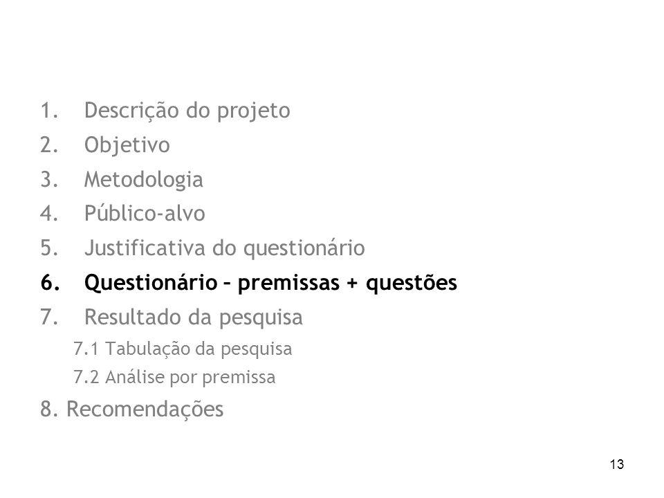 13 1.Descrição do projeto 2.Objetivo 3.Metodologia 4.Público-alvo 5.Justificativa do questionário 6.Questionário – premissas + questões 7.Resultado da