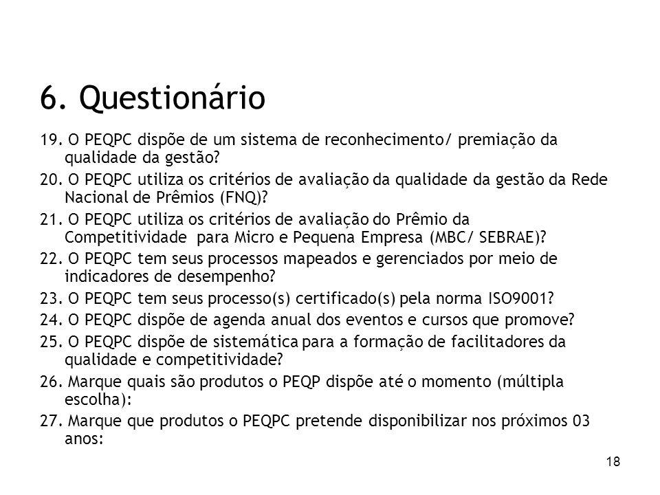 18 6. Questionário 19. O PEQPC dispõe de um sistema de reconhecimento/ premiação da qualidade da gestão? 20. O PEQPC utiliza os critérios de avaliação