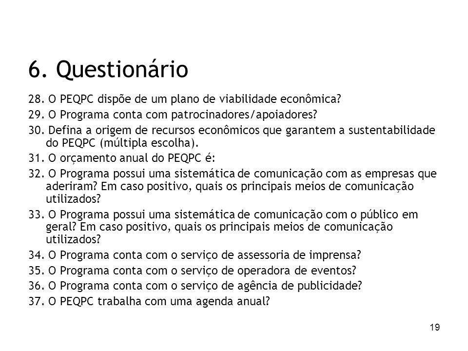 19 6. Questionário 28. O PEQPC dispõe de um plano de viabilidade econômica? 29. O Programa conta com patrocinadores/apoiadores? 30. Defina a origem de