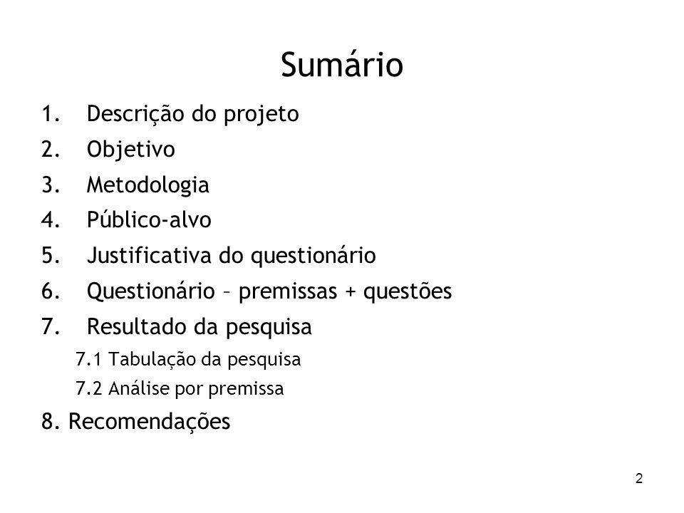 2 Sumário 1.Descrição do projeto 2.Objetivo 3.Metodologia 4.Público-alvo 5.Justificativa do questionário 6.Questionário – premissas + questões 7.Resul