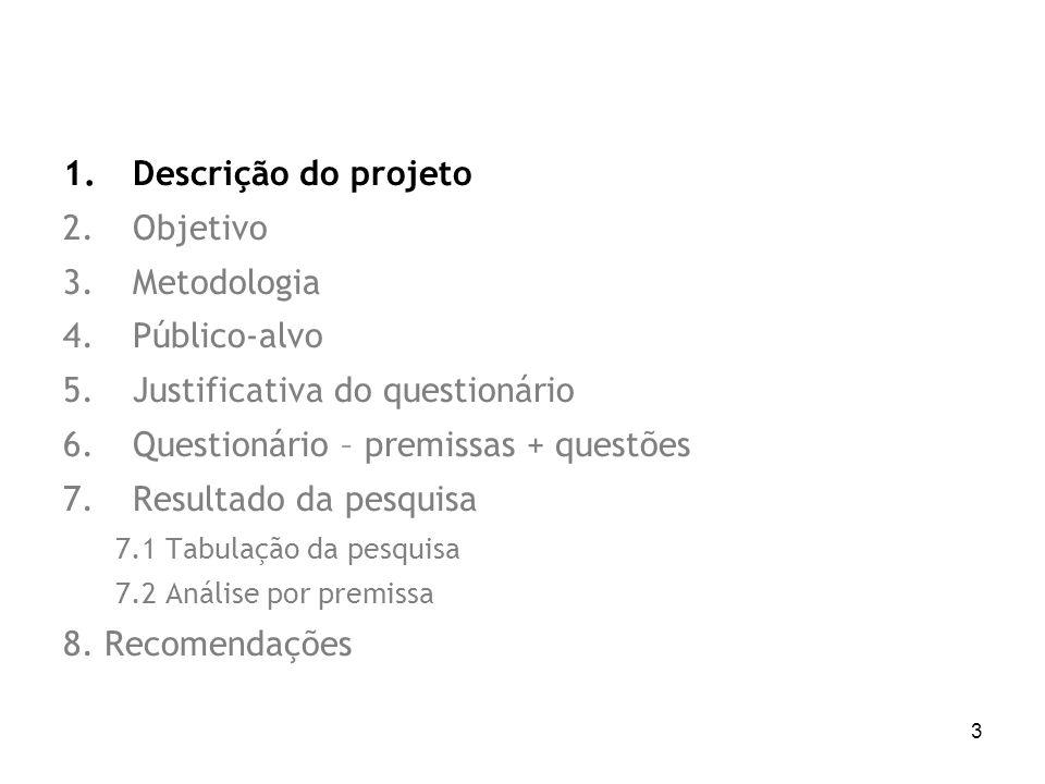 3 1.Descrição do projeto 2.Objetivo 3.Metodologia 4.Público-alvo 5.Justificativa do questionário 6.Questionário – premissas + questões 7.Resultado da