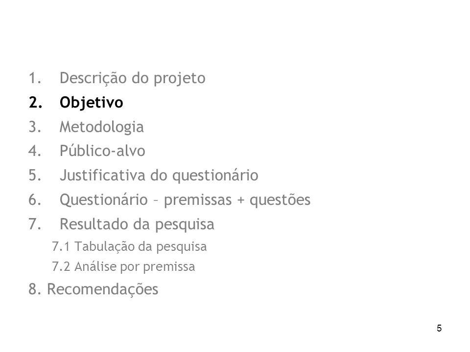 5 1.Descrição do projeto 2.Objetivo 3.Metodologia 4.Público-alvo 5.Justificativa do questionário 6.Questionário – premissas + questões 7.Resultado da