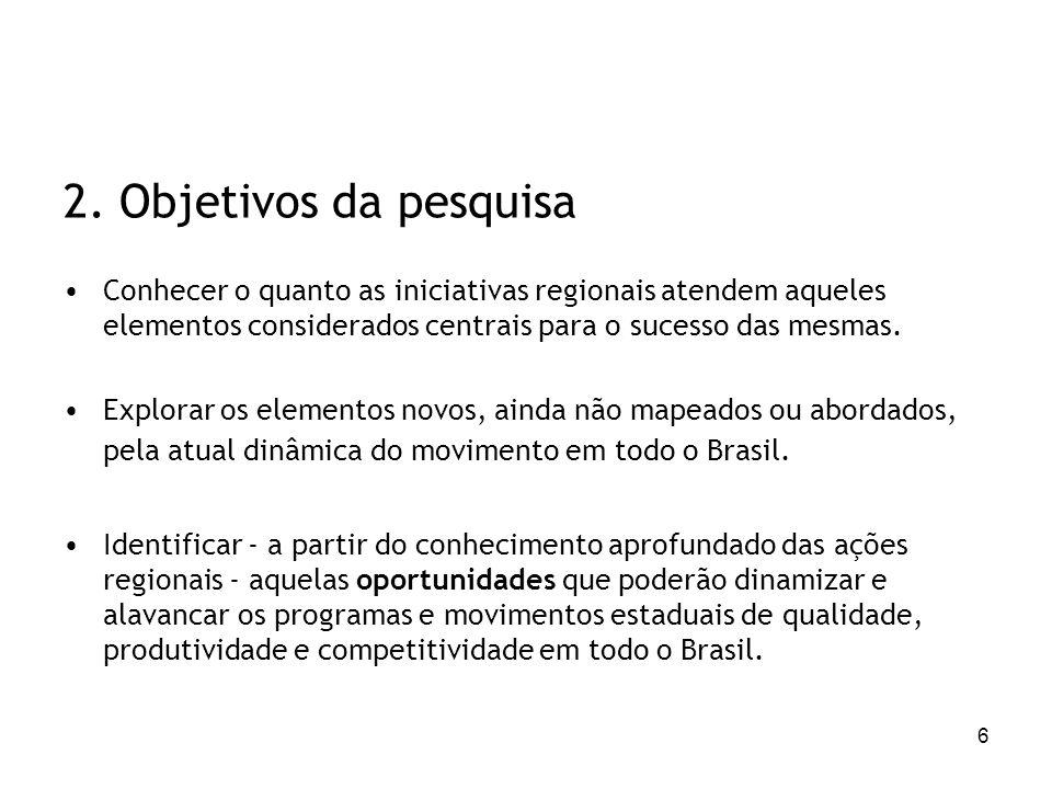 6 2. Objetivos da pesquisa Conhecer o quanto as iniciativas regionais atendem aqueles elementos considerados centrais para o sucesso das mesmas. Explo
