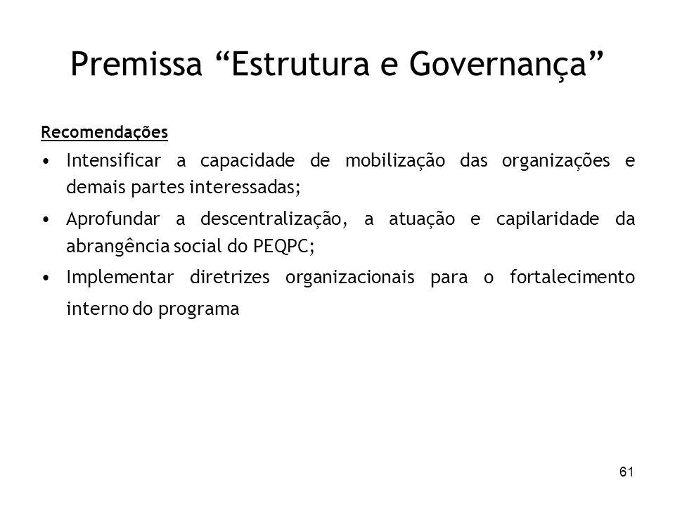 61 Premissa Estrutura e Governança Recomendações Intensificar a capacidade de mobilização das organizações e demais partes interessadas; Aprofundar a