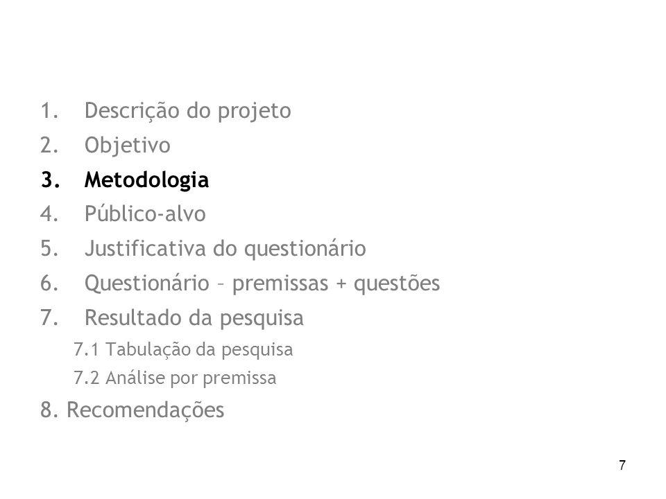 7 1.Descrição do projeto 2.Objetivo 3.Metodologia 4.Público-alvo 5.Justificativa do questionário 6.Questionário – premissas + questões 7.Resultado da