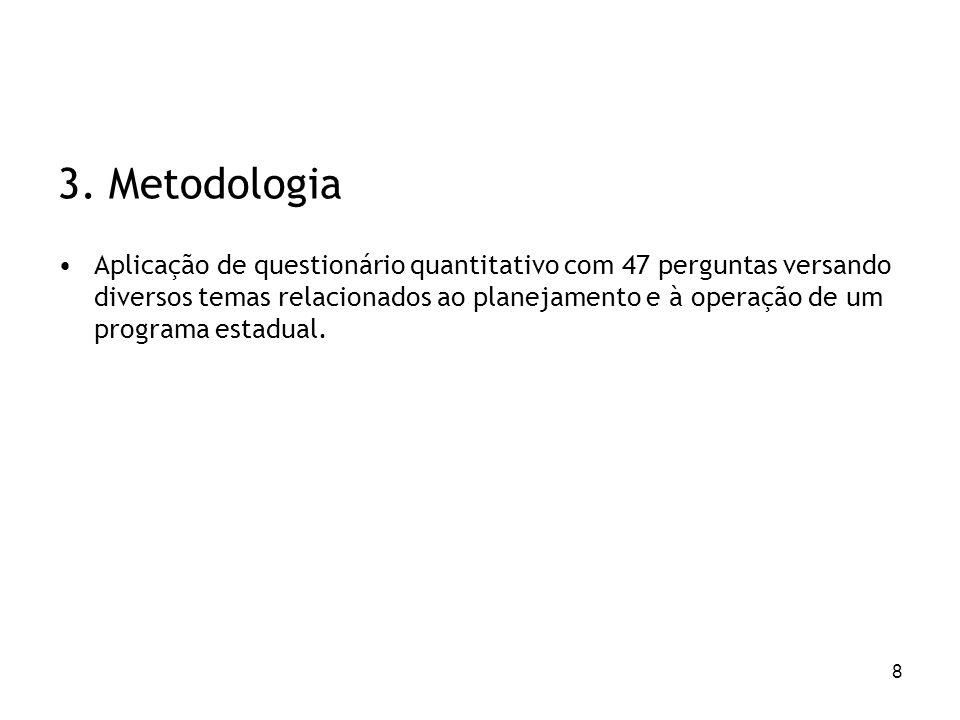 8 3. Metodologia Aplicação de questionário quantitativo com 47 perguntas versando diversos temas relacionados ao planejamento e à operação de um progr