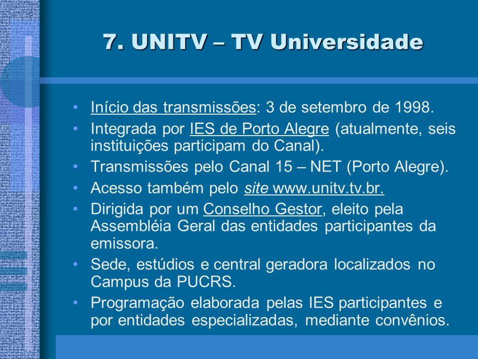 7. UNITV – TV Universidade Início das transmissões: 3 de setembro de 1998.