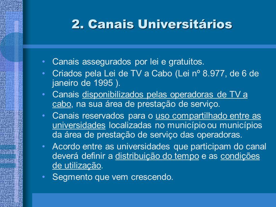 2. Canais Universitários Canais assegurados por lei e gratuitos.
