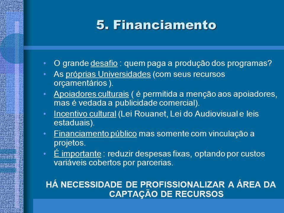 5. Financiamento O grande desafio : quem paga a produção dos programas.