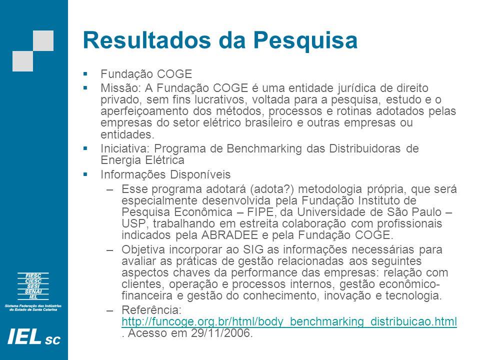 Resultados da Pesquisa Fundação COGE Missão: A Fundação COGE é uma entidade jurídica de direito privado, sem fins lucrativos, voltada para a pesquisa, estudo e o aperfeiçoamento dos métodos, processos e rotinas adotados pelas empresas do setor elétrico brasileiro e outras empresas ou entidades.
