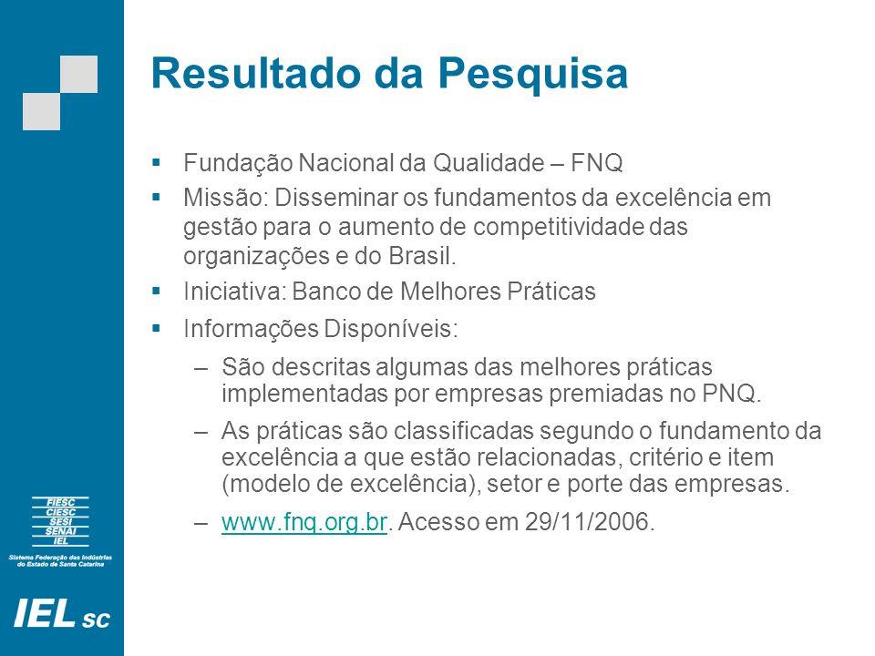 Resultado da Pesquisa Fundação Nacional da Qualidade – FNQ Missão: Disseminar os fundamentos da excelência em gestão para o aumento de competitividade das organizações e do Brasil.