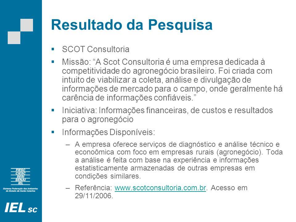 Resultado da Pesquisa SCOT Consultoria Missão: A Scot Consultoria é uma empresa dedicada à competitividade do agronegócio brasileiro.