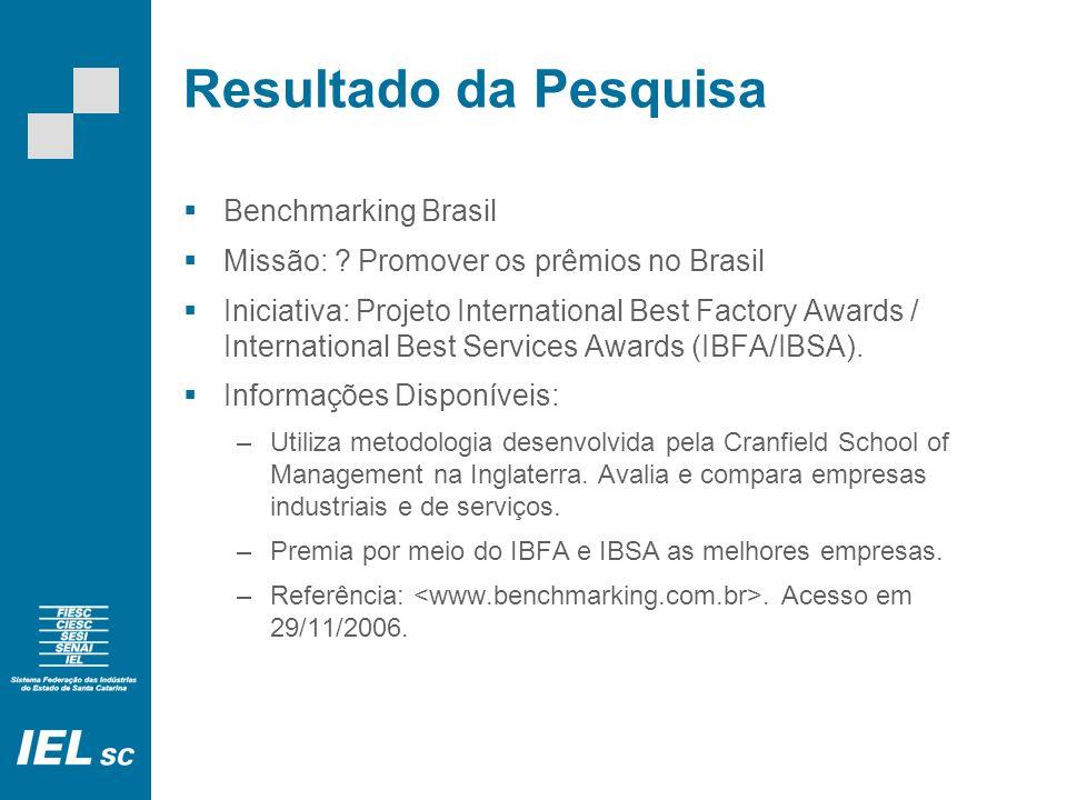 Resultado da Pesquisa Benchmarking Brasil Missão: .