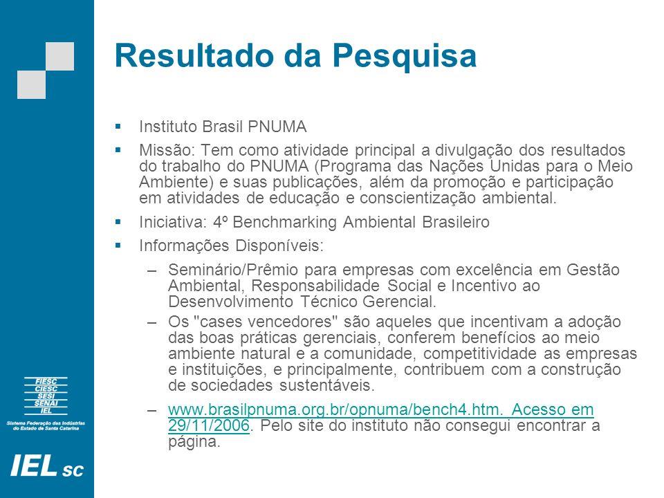 Resultado da Pesquisa Instituto Brasil PNUMA Missão: Tem como atividade principal a divulgação dos resultados do trabalho do PNUMA (Programa das Nações Unidas para o Meio Ambiente) e suas publicações, além da promoção e participação em atividades de educação e conscientização ambiental.