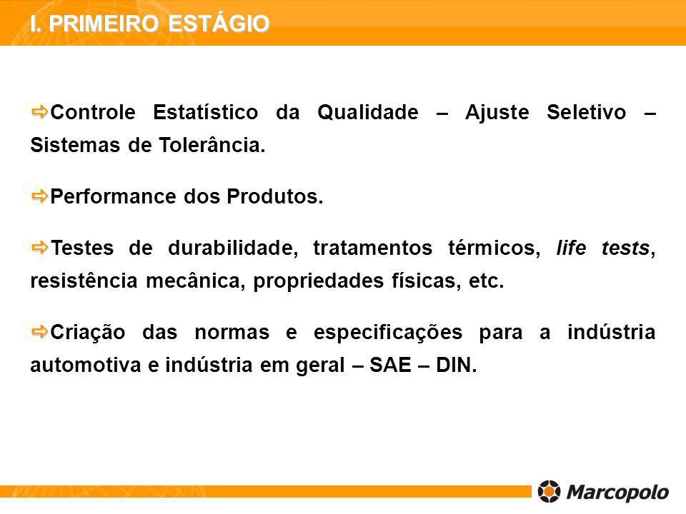 Controle Estatístico da Qualidade – Ajuste Seletivo – Sistemas de Tolerância. Performance dos Produtos. Testes de durabilidade, tratamentos térmicos,