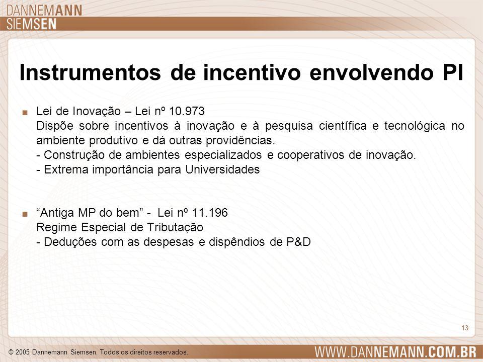 © 2005 Dannemann Siemsen. Todos os direitos reservados. 13 Instrumentos de incentivo envolvendo PI. Lei de Inovação – Lei nº 10.973 Dispõe sobre incen