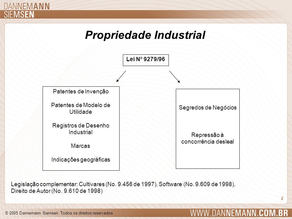 © 2005 Dannemann Siemsen. Todos os direitos reservados. 2 Propriedade Industrial Patentes de Invenção Patentes de Modelo de Utilidade Registros de Des