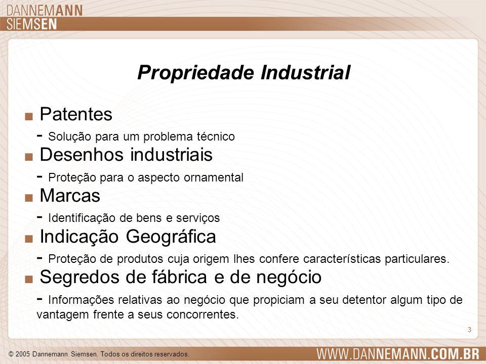 © 2005 Dannemann Siemsen. Todos os direitos reservados. 3 Propriedade Industrial. Patentes - Solução para um problema técnico. Desenhos industriais -
