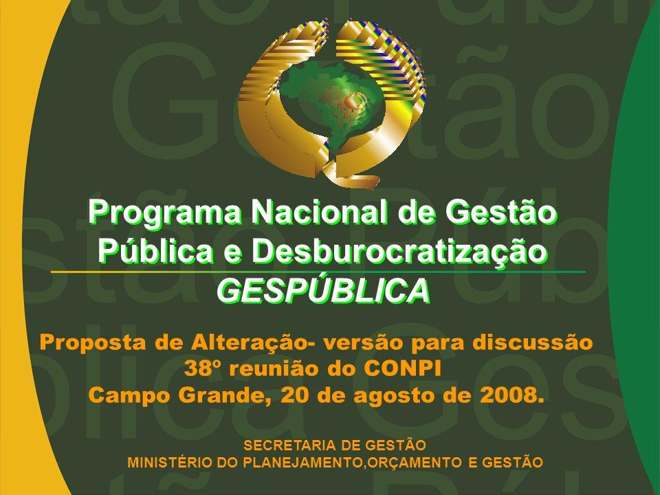 Programa Nacional de Gestão Pública e Desburocratização GESPÚBLICA SECRETARIA DE GESTÃO MINISTÉRIO DO PLANEJAMENTO,ORÇAMENTO E GESTÃO Proposta de Alte