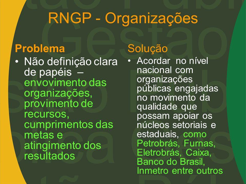 RNGP - Organizações Problema Não definição clara de papéis – envovimento das organizações, provimento de recursos, cumprimentos das metas e atingiment