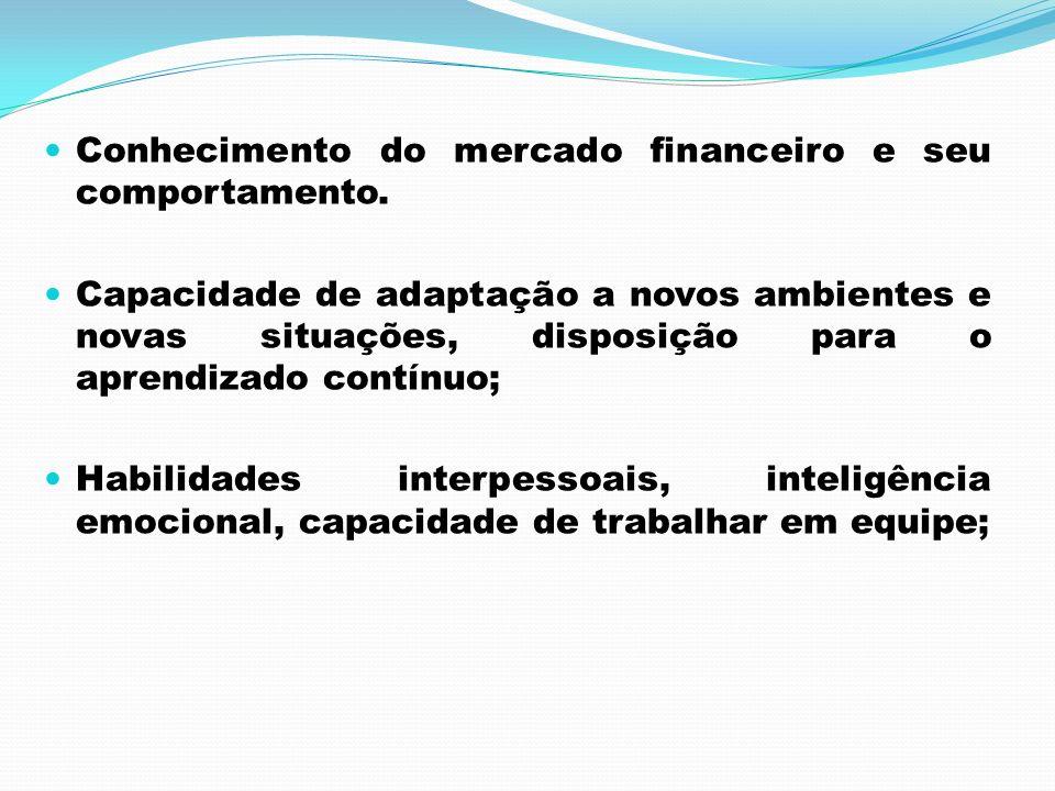 Conhecimento do mercado financeiro e seu comportamento. Capacidade de adaptação a novos ambientes e novas situações, disposição para o aprendizado con