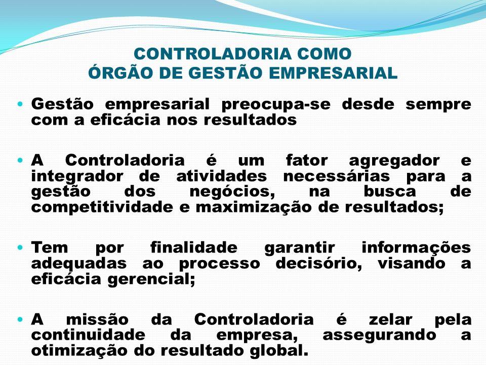 CONTROLADORIA COMO ÓRGÃO DE GESTÃO EMPRESARIAL Gestão empresarial preocupa-se desde sempre com a eficácia nos resultados A Controladoria é um fator ag