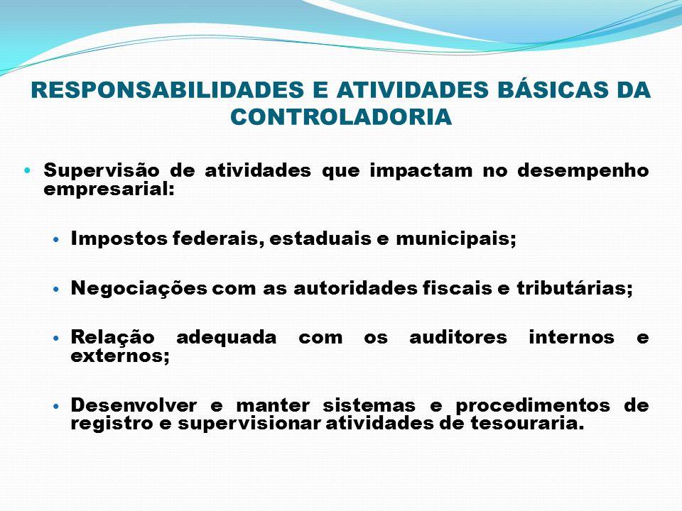 RESPONSABILIDADES E ATIVIDADES BÁSICAS DA CONTROLADORIA Supervisão de atividades que impactam no desempenho empresarial: Impostos federais, estaduais