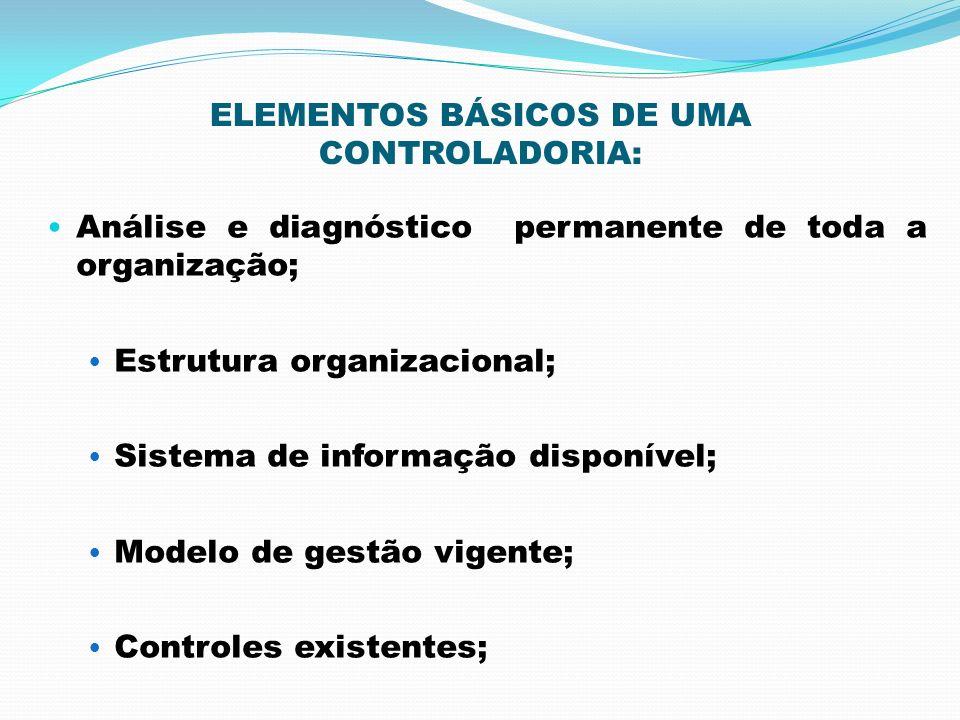 ELEMENTOS BÁSICOS DE UMA CONTROLADORIA: Análise e diagnóstico permanente de toda a organização; Estrutura organizacional; Sistema de informação dispon