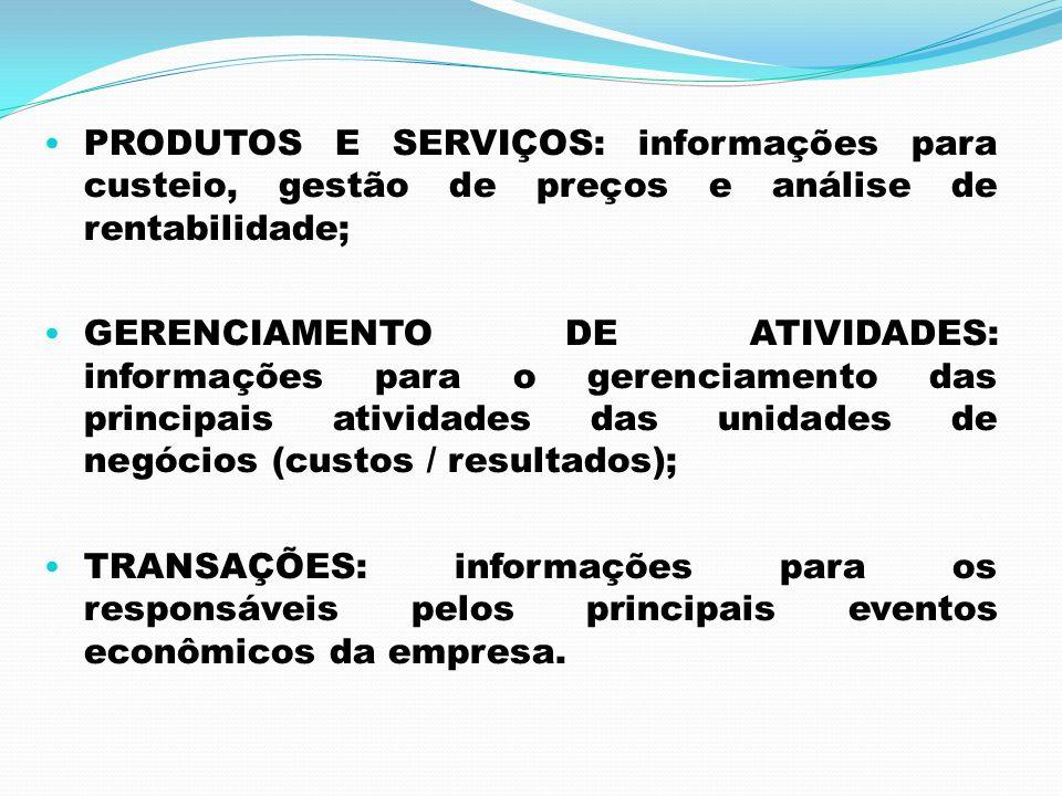 PRODUTOS E SERVIÇOS: informações para custeio, gestão de preços e análise de rentabilidade; GERENCIAMENTO DE ATIVIDADES: informações para o gerenciame
