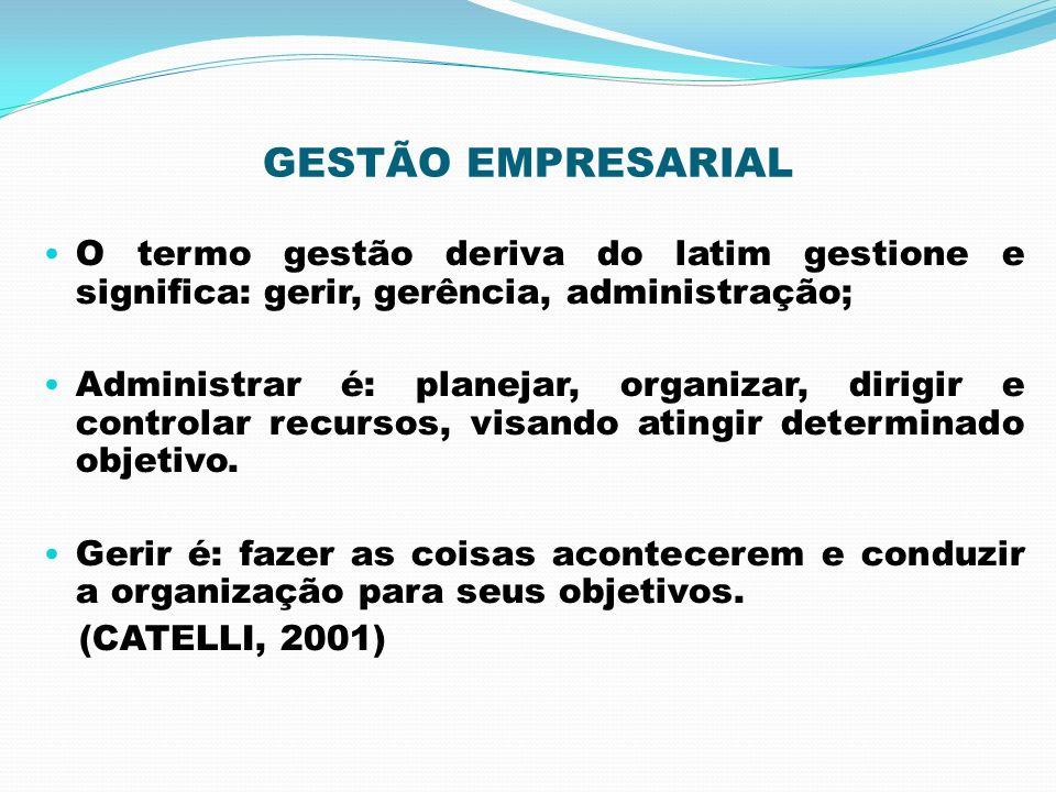 GESTÃO EMPRESARIAL O termo gestão deriva do latim gestione e significa: gerir, gerência, administração; Administrar é: planejar, organizar, dirigir e