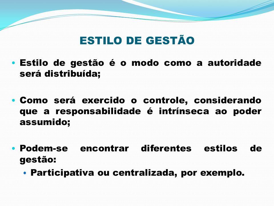 ESTILO DE GESTÃO Estilo de gestão é o modo como a autoridade será distribuída; Como será exercido o controle, considerando que a responsabilidade é in