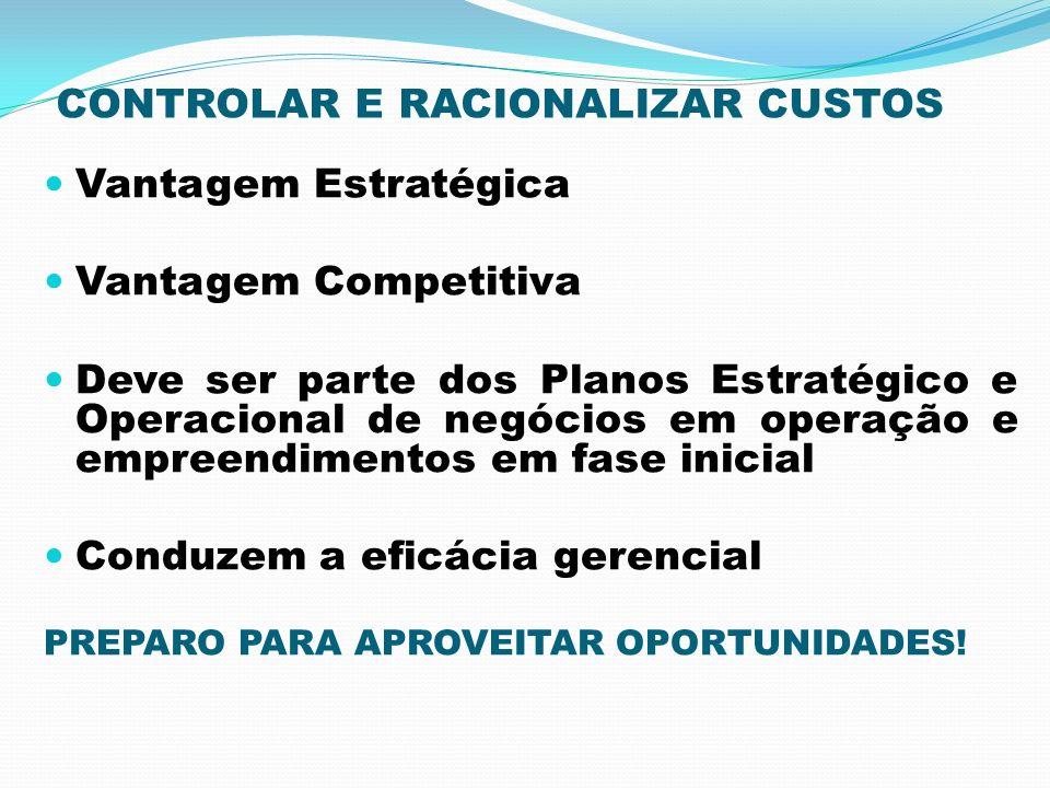 CONTROLAR E RACIONALIZAR CUSTOS Vantagem Estratégica Vantagem Competitiva Deve ser parte dos Planos Estratégico e Operacional de negócios em operação