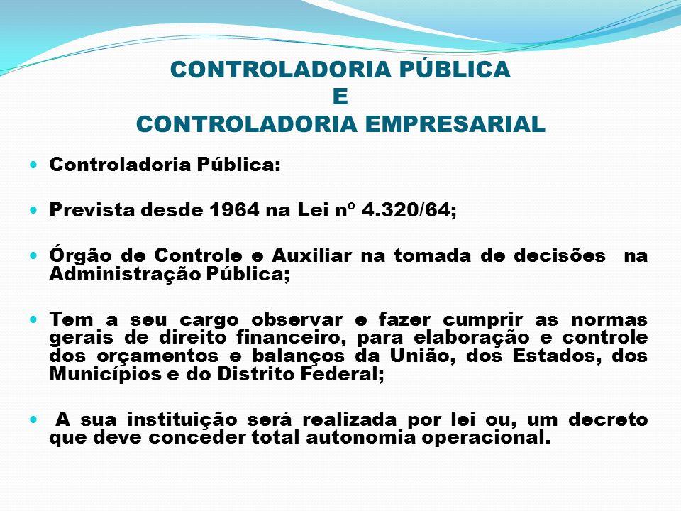 CONTROLADORIA PÚBLICA E CONTROLADORIA EMPRESARIAL Controladoria Pública: Prevista desde 1964 na Lei nº 4.320/64; Órgão de Controle e Auxiliar na tomad