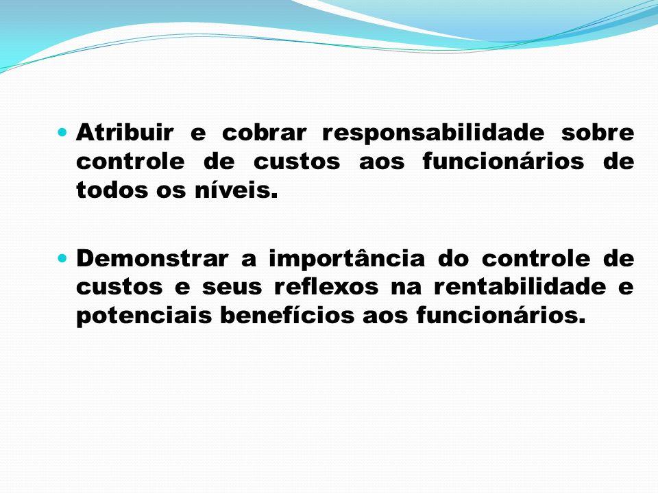 Atribuir e cobrar responsabilidade sobre controle de custos aos funcionários de todos os níveis. Demonstrar a importância do controle de custos e seus