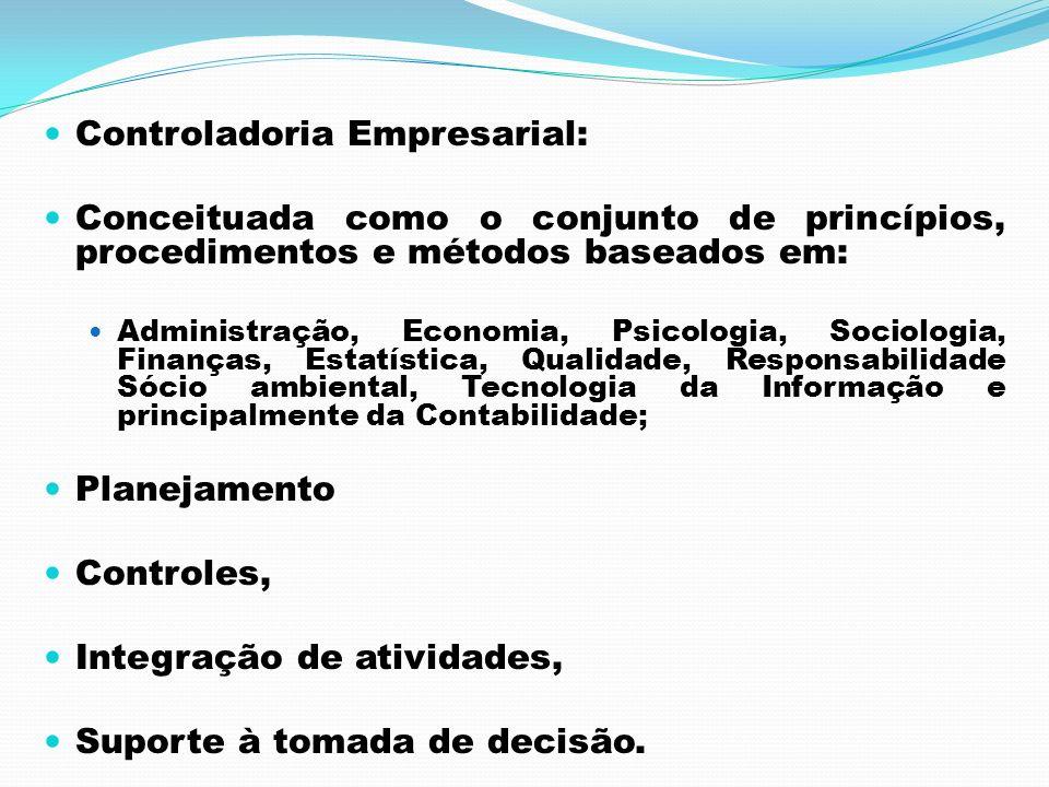 Controladoria Empresarial: Conceituada como o conjunto de princípios, procedimentos e métodos baseados em: Administração, Economia, Psicologia, Sociol