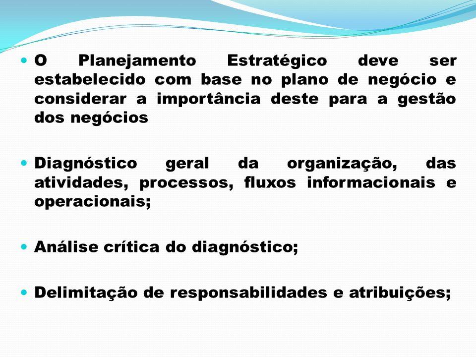 O Planejamento Estratégico deve ser estabelecido com base no plano de negócio e considerar a importância deste para a gestão dos negócios Diagnóstico