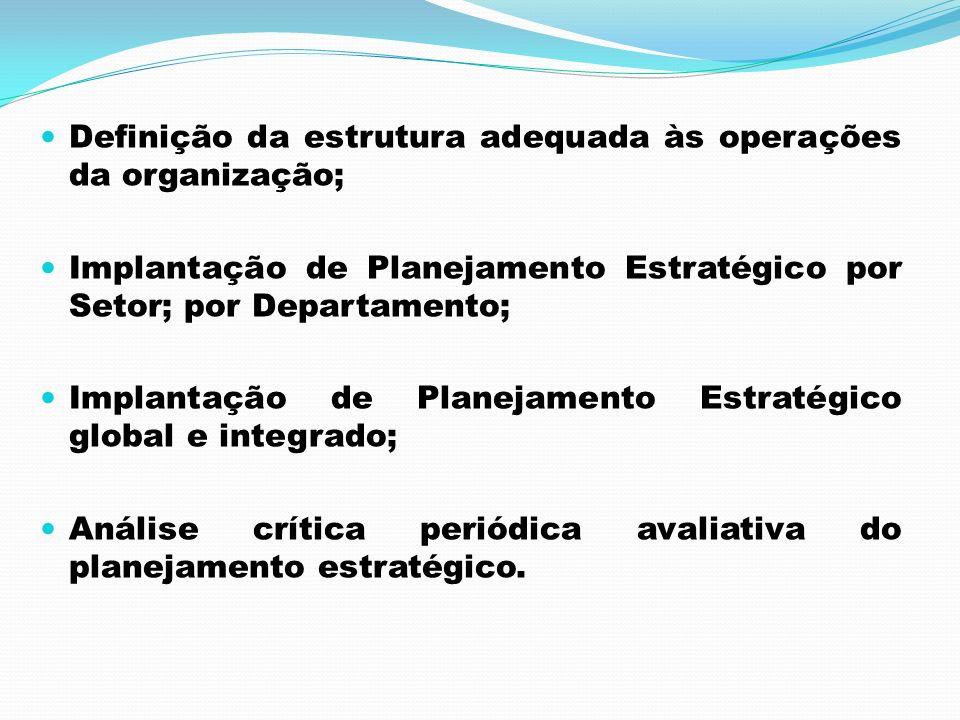 Definição da estrutura adequada às operações da organização; Implantação de Planejamento Estratégico por Setor; por Departamento; Implantação de Plane