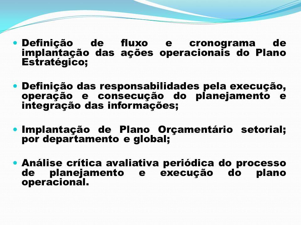 Definição de fluxo e cronograma de implantação das ações operacionais do Plano Estratégico; Definição das responsabilidades pela execução, operação e