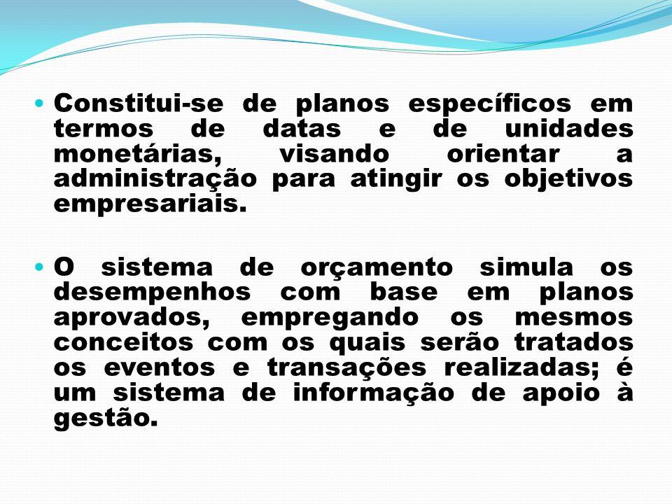 Constitui-se de planos específicos em termos de datas e de unidades monetárias, visando orientar a administração para atingir os objetivos empresariai