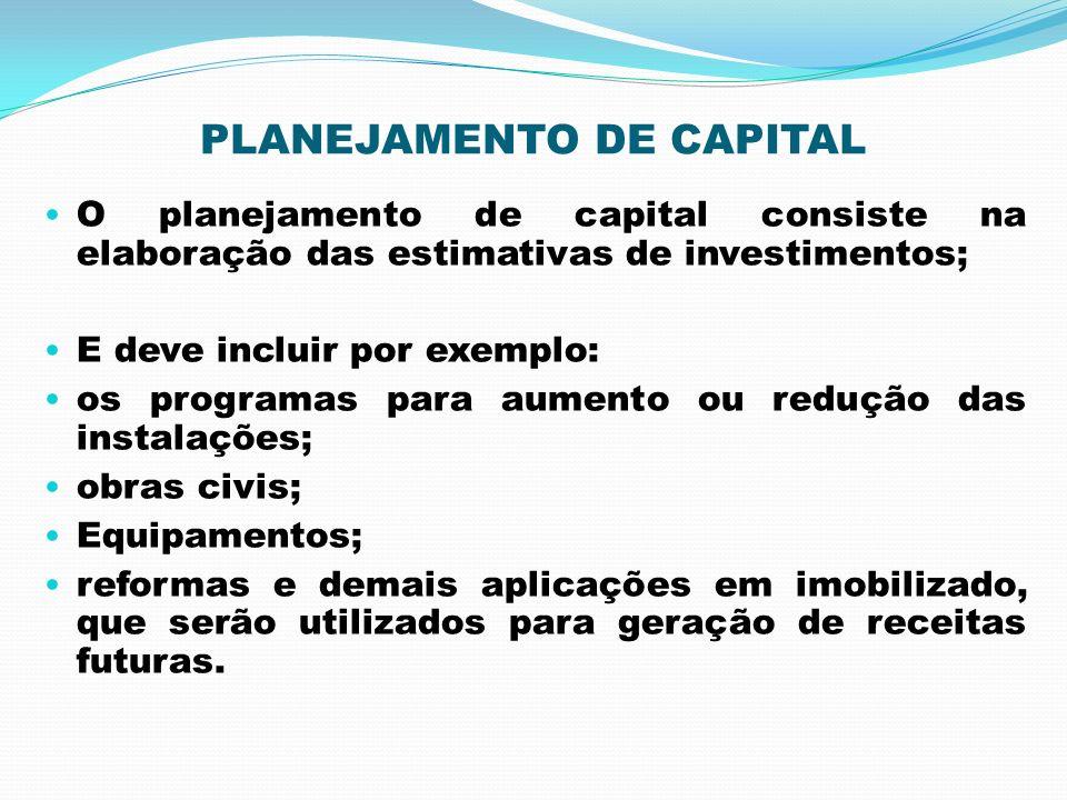 PLANEJAMENTO DE CAPITAL O planejamento de capital consiste na elaboração das estimativas de investimentos; E deve incluir por exemplo: os programas pa
