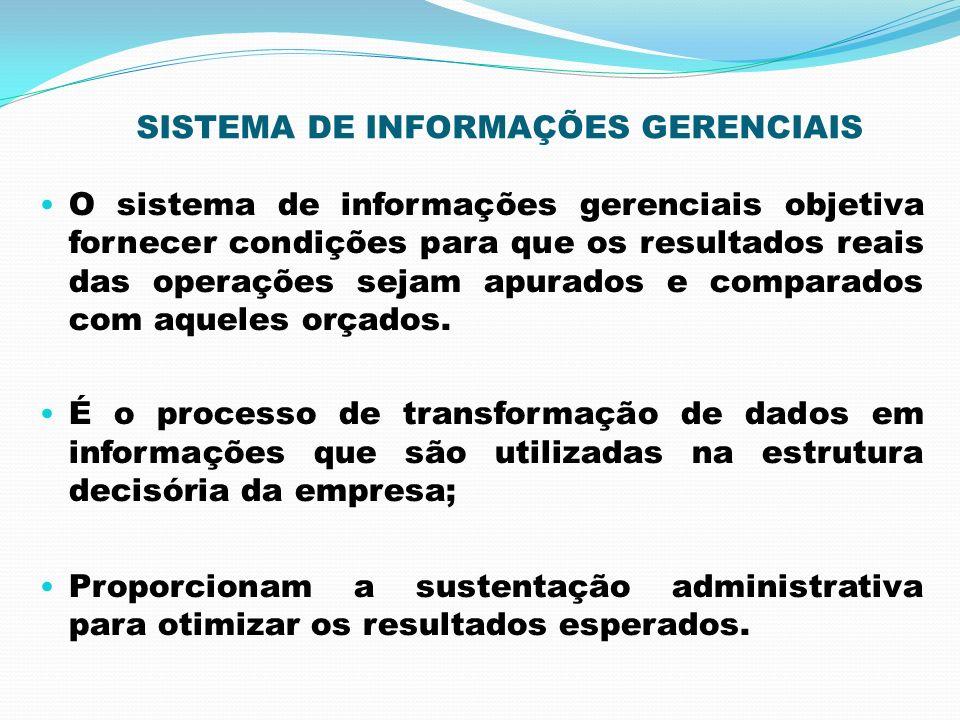 SISTEMA DE INFORMAÇÕES GERENCIAIS O sistema de informações gerenciais objetiva fornecer condições para que os resultados reais das operações sejam apu