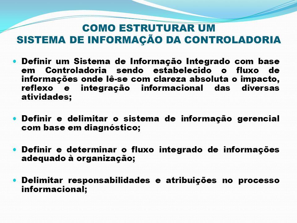 COMO ESTRUTURAR UM SISTEMA DE INFORMAÇÃO DA CONTROLADORIA Definir um Sistema de Informação Integrado com base em Controladoria sendo estabelecido o fl
