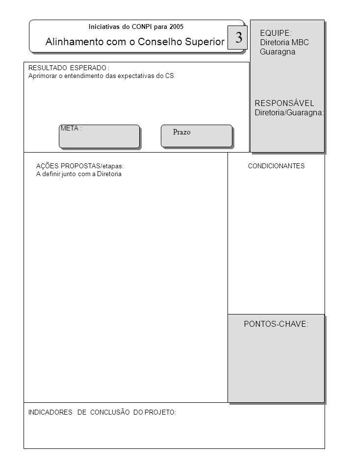 AÇÕES PROPOSTAS/etapas: A definir junto com a Diretoria RESULTADO ESPERADO : Aprimorar o entendimento das expectativas do CS INDICADORES DE CONCLUSÃO