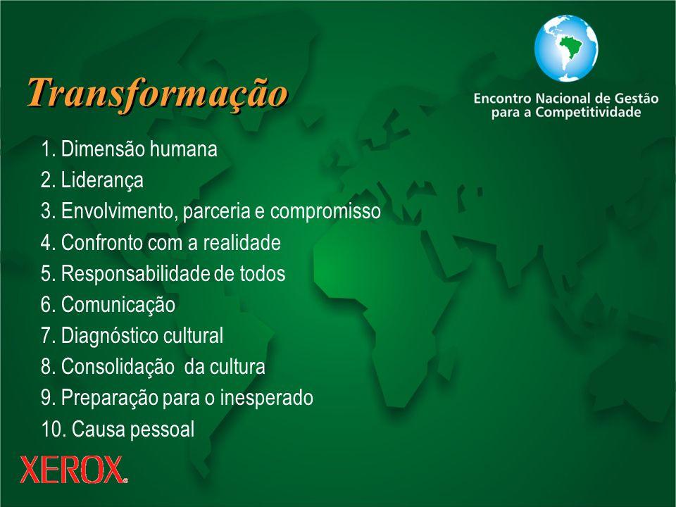 Transformação 1. Dimensão humana 2. Liderança 3. Envolvimento, parceria e compromisso 4. Confronto com a realidade 5. Responsabilidade de todos 6. Com