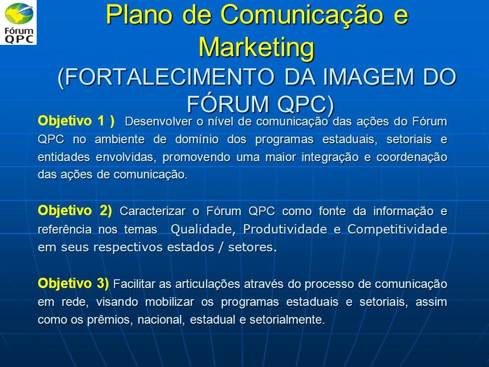Plano de Comunicação e Marketing (FORTALECIMENTO DA IMAGEM DO FÓRUM QPC) Desenvolver o nível de comunicação das ações do Fórum QPC no ambiente de domí
