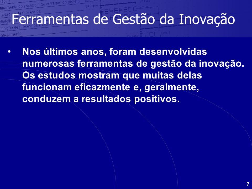 7 Ferramentas de Gestão da Inovação Nos últimos anos, foram desenvolvidas numerosas ferramentas de gestão da inovação. Os estudos mostram que muitas d